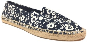 Tory Burch Espadrille Jute Floral Leather Blue Flats