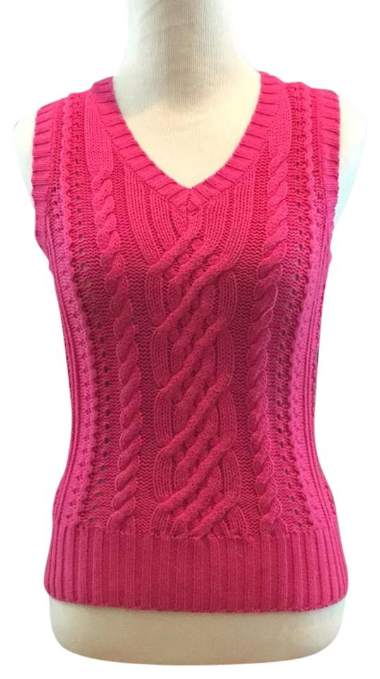 Lilly Pulitzer Cable Knit Vest Pink Sweater Tradesy