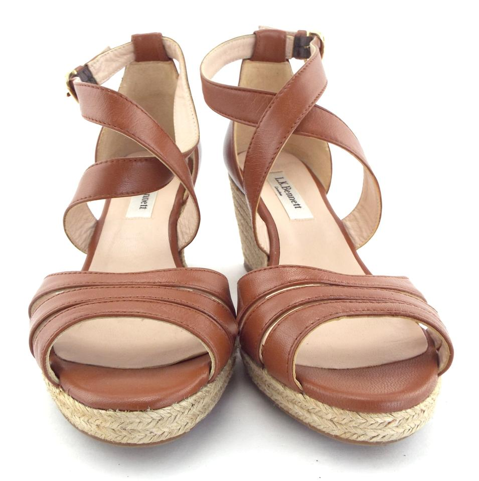 cde549155e3 L.K. Bennett Brown Espadrille Wedge Sandals Size EU 36 (Approx. US 6)  Regular (M