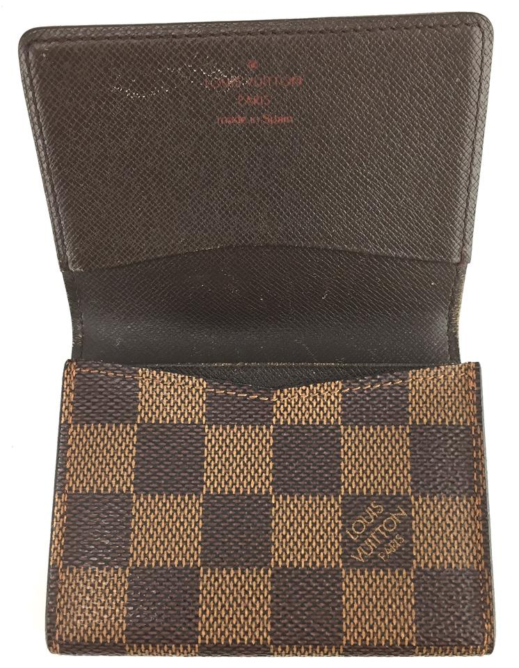 Louis Vuitton #17367 Damier Ebene Flap Credit Business Card Case ...