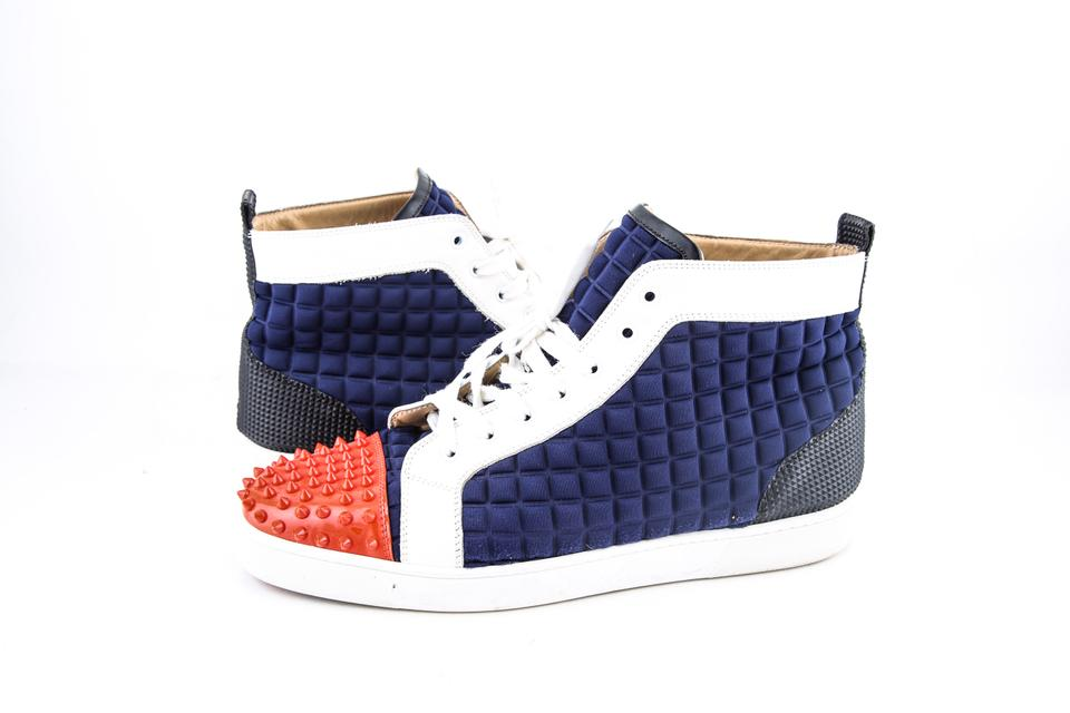 ab7e1b1c61b5 Christian Louboutin   Blue Orange Louis Junior Men Flat High Top Super  Perfect Blue  ...