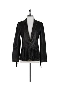 Donald J. Pliner Leather Fringe Black Jacket