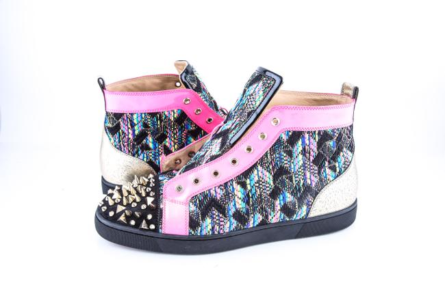 Item - * Multi Louis Spikes Flat Stitch Fabric Shoes