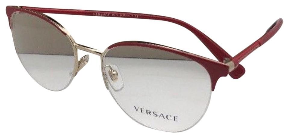 c6a36d55302c Versace New VERSACE Eyeglasses MOD. 1247 1408 52-17 140 Red Gold Semi  Rimless ...