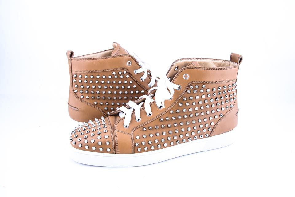 buy popular 0135c 55f9b Christian Louboutin * Brown Louis Spikes Flat Shoes 29% off retail
