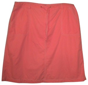 Eddie Bauer Color Drawstring Ties Cotton Skirt Salmon