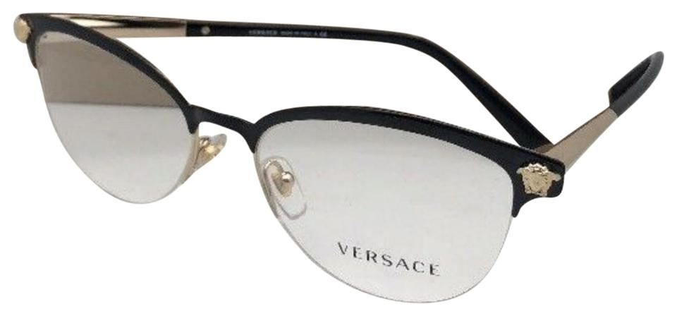 3e2f14236893 Versace New VERSACE Eyeglasses MOD.1235 1371 53-17 140 Black Gold Cat Eye  ...