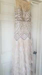 Sue Wong Champagne Ostrich Feather Vintage Wedding Dress Size 6 (S)