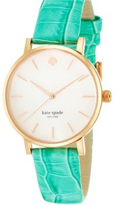 Kate Spade Kate Spade Metro Gold-Plated Watch with Green Leather Band 1YRU0497