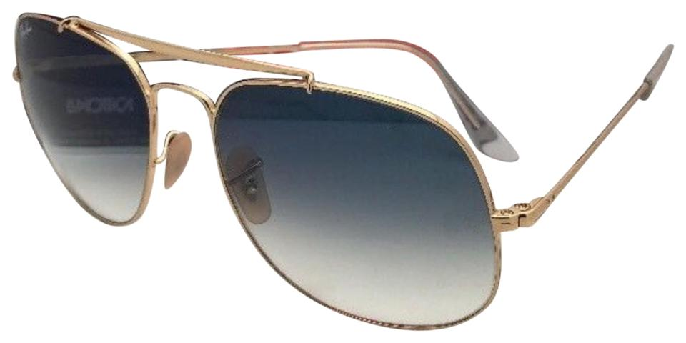 624770786da35 Ray-Ban New The General Rb 3561 001 3f 57-17 Gold Aviator W Blue ...