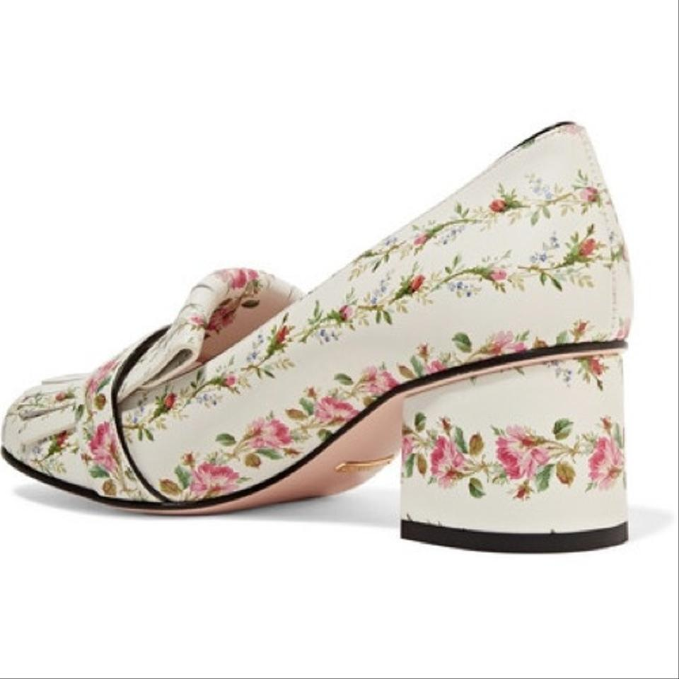 ccdcc88fbd4 Gucci White Marmont Mid-heel Rose Print Kiltie Loafer Pumps Size EU 38  (Approx. US 8) Regular (M