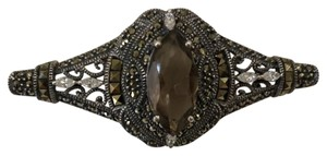 Judith Jack Judith Jack Elegant sterling silver and gold marcasite and Taupe brooc
