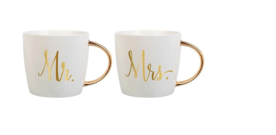 Gold And White Ceramic Coffee Mugs Mr Mrs 2 Count 14 Oz For S Serverware