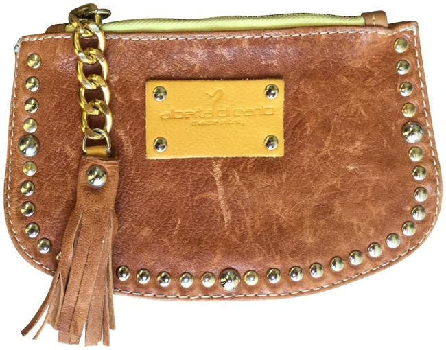 Item - Studded Wristlet Brown Leather Clutch