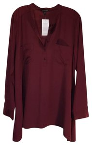 Eileen Fisher Silk Longsleeve Pockets Buttons Asymmetrical Top burgundy
