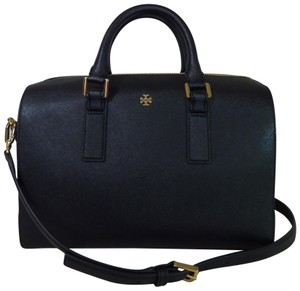 Tory Burch Saffiano Leather Robinson Brown Handbag Satchel in Black