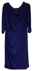 Suzi Chin for Maggy Boutique Polyester Zipper 3/4 Sleeve Draped Lined Dress