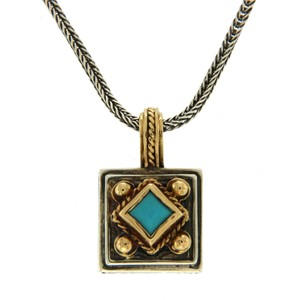 Konstantino Konstantino 925 Silver and 18K Gold Turquoise Pendant Necklace
