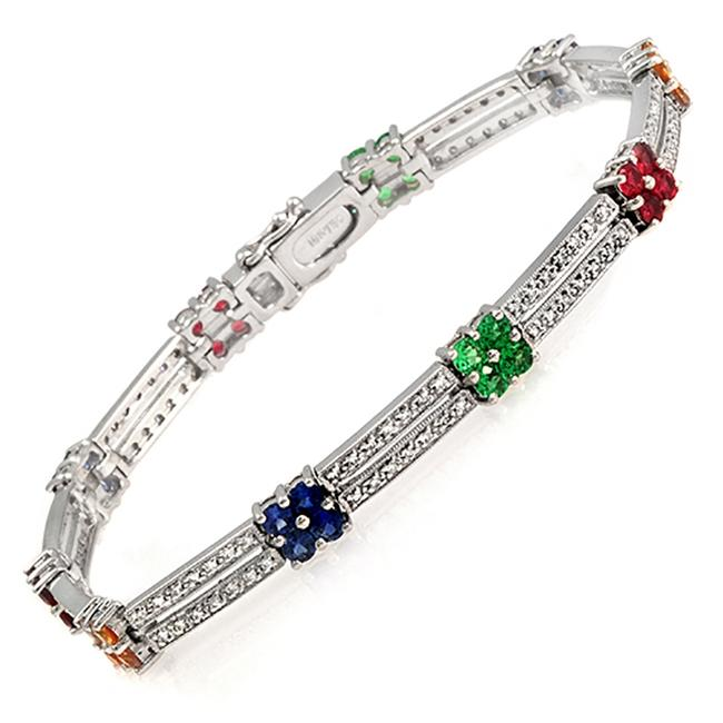 Item - 1.30 Ct Diamonds & 2.95 Ct Gemstones 18k White Gold Bracelet