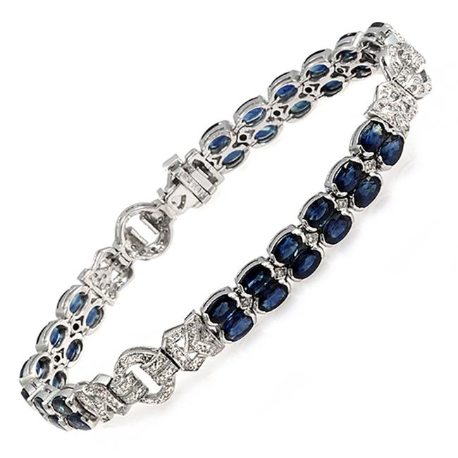 Item - 12.22 Ct Blue Sapphires 0.72 Ct Diamonds 18k White Gold Bracelet