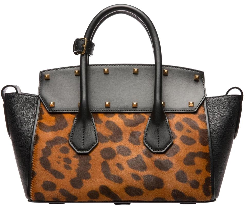 09e1603cf Bally Medium Sommet Black Leopard Calfskin Leather Tote - Tradesy