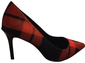 Coach red and black calf hair plaid Pumps