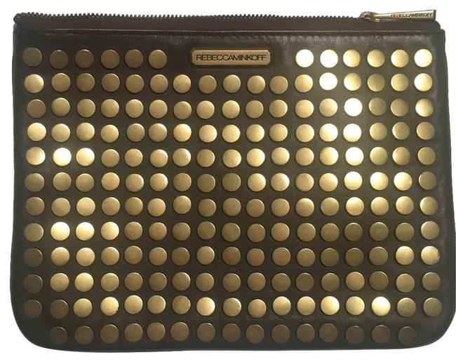 Item - Rockstud Brown and Gold Leather Clutch