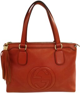 Gucci Gg Leather Soho Satchel Tote in Orange
