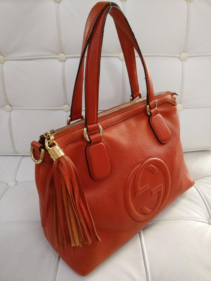 73c59ddb698 Gucci Gg Leather Soho Satchel Tote in Orange Image 11. 123456789101112