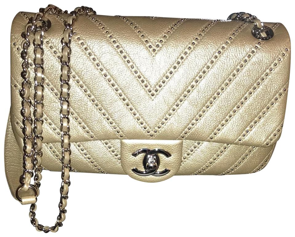 df2731c1f4589c Chanel Classic Calfskin Studded Chevron Quilted Wars Flap Gold ...