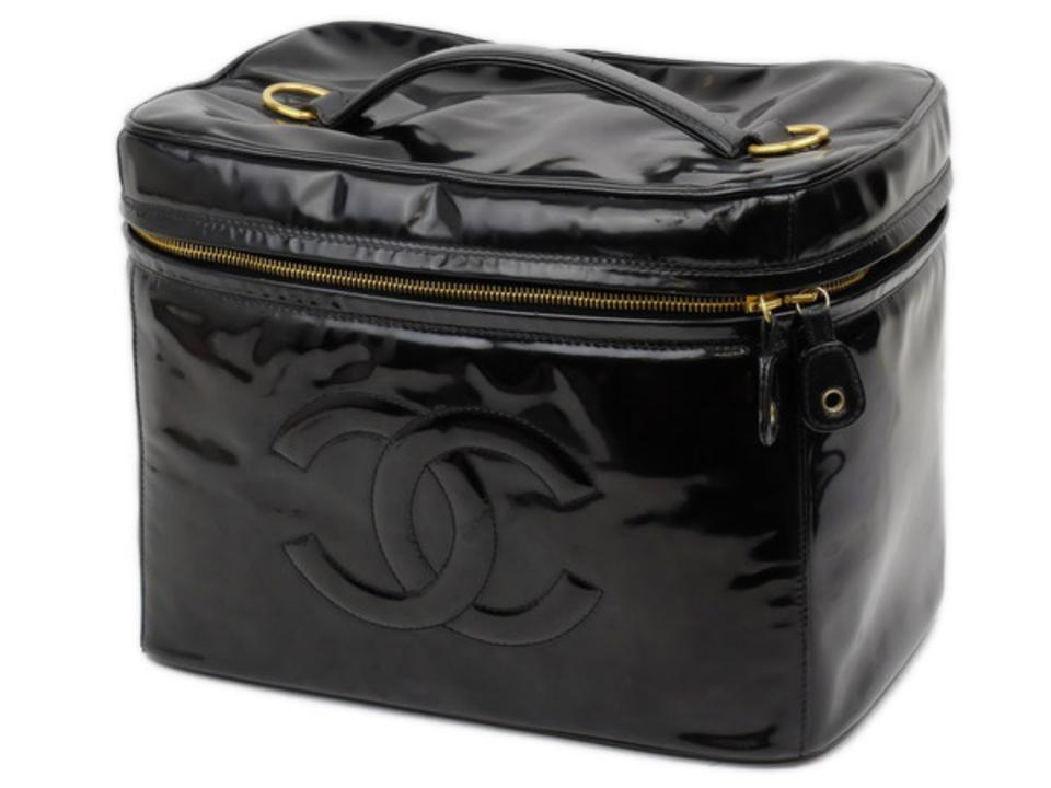 5ae47728f4 Black Vanity Case Extra Large Patent Tote 226581 Cosmetic Bag