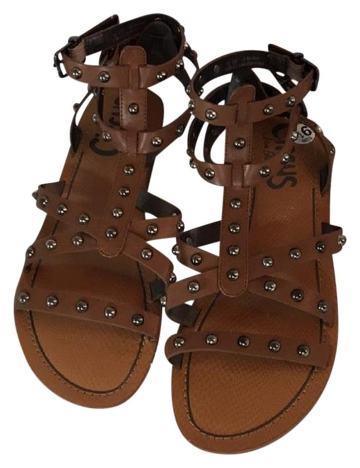 546d98417e1314 Circus by Sam Edelman Brown Tan Studded Gladiator Sandals Size US ...