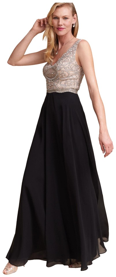 Aidan Mattox Champagne Black Regina Embellished Gown Long Formal