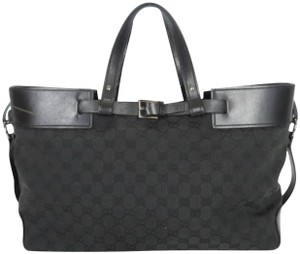 a47c4b4500ff Gucci  leprix  Monogram Signature Large 226603 Black Coated Canvas ...