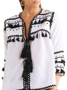 DODO BAR OR Embroidered Bohemian Summer Peasant Gauze Top Black and White