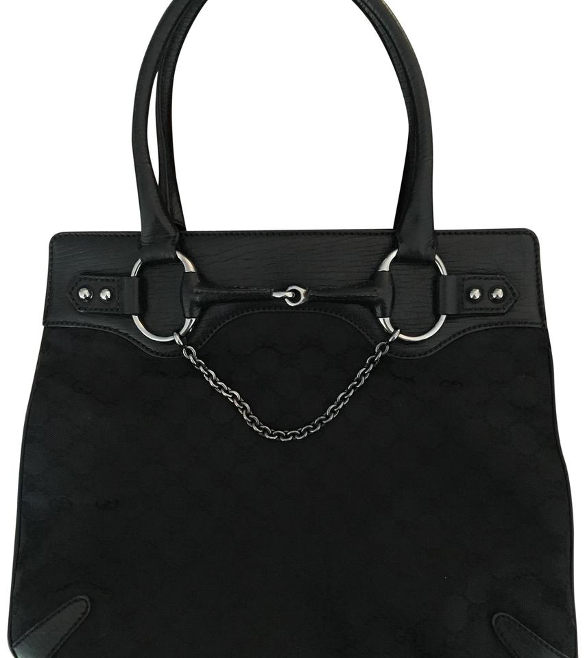 4e41c65240f6 Gucci Horsebit Signature Black Canvas Tote - Tradesy