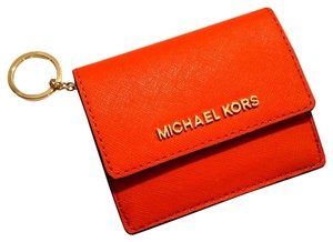 Michael Kors Jet Set Travel Card Case Id Key Holder Wallet Electric Blue tangarine Clutch