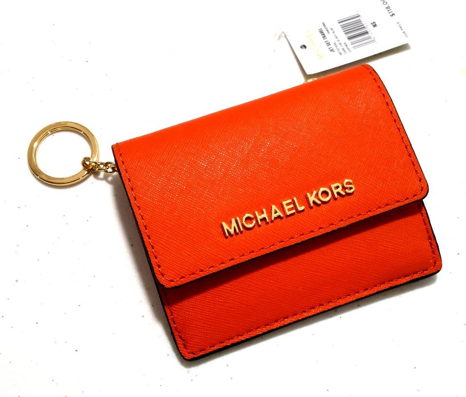31c02a3abf8347 Michael Kors Jet Set Travel Card Case Id Key Holder Wallet Electric Blue  tangarine Clutch Image. 12345
