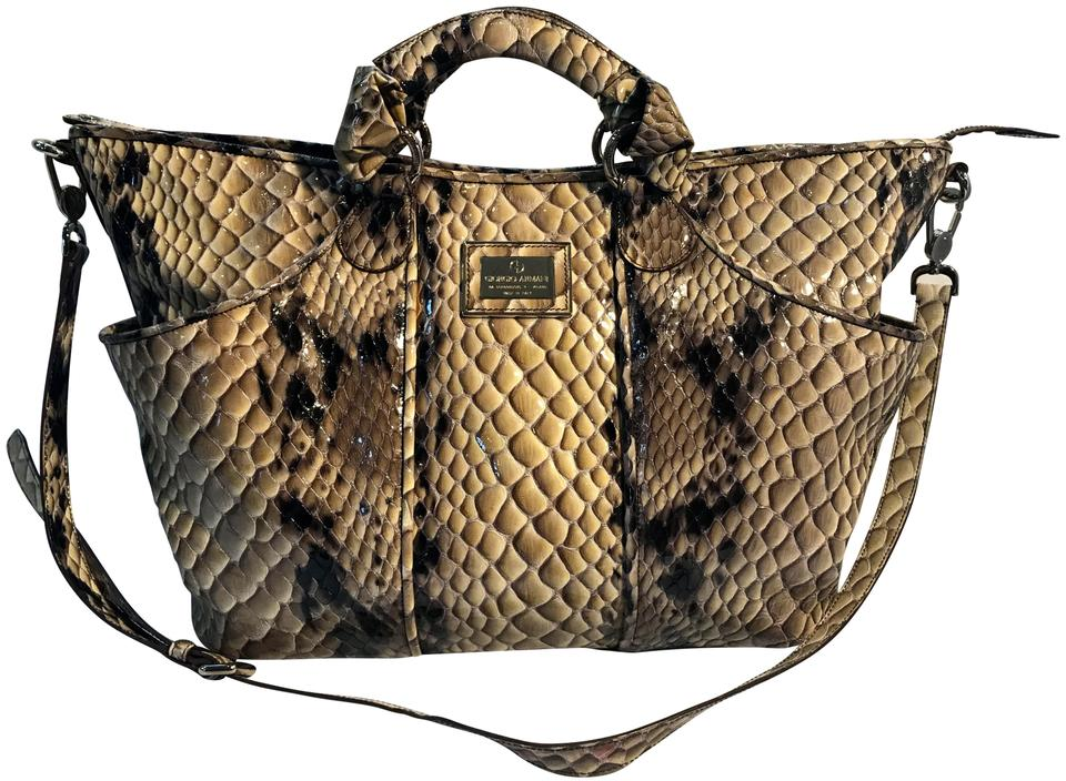 Giorgio Armani Satchel Shades Of Gray Python Skin Leather Weekend ... 6265634f00590