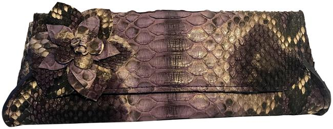 Item - Custom Handmade with Floral Detail Purple Python Skin Leather Clutch