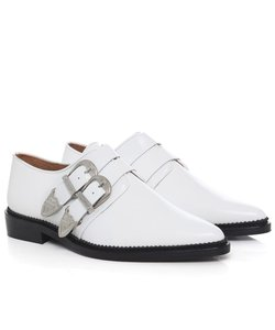 TOGA Pulla Western Engraved Leather White Flats