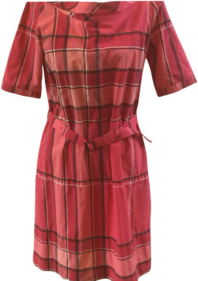 65c2747af97c Burberry Brit Red (Multi) Margaux Check Sleeved Cotton Voile Shirtdress  Short Casual Dress
