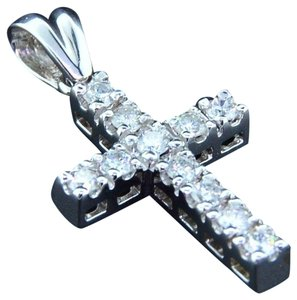Jewelry For Less Diamond Cross Pendant Solitaire Round Cut 14K White Gold Charm 1/2 Ct.