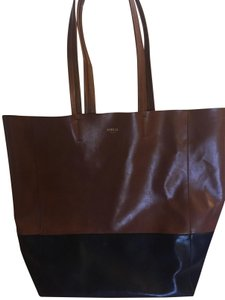 Sorial Two-tone Vegan Large Tote in tobacco and black