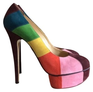 Charlotte Olympia Rainbow Red Pink Yellow Multi Pumps