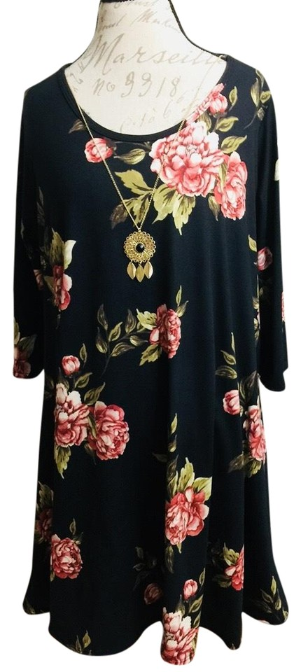 59ba0d22de8c3 French Atmosphere Black Floral Women's Flare Tunic Top/Dress+ Necklace  Accessory Short Casual Dress