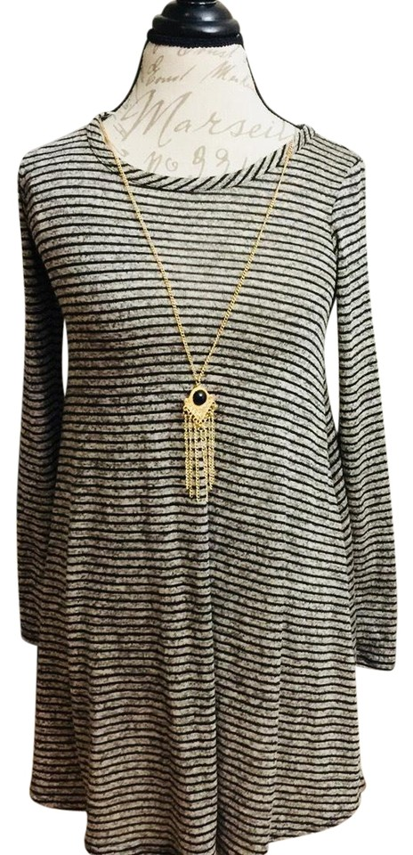 840be0e718c9e Stripe Women's Flare Tunic Dress/Top + Necklace Accessory Short Casual Dress