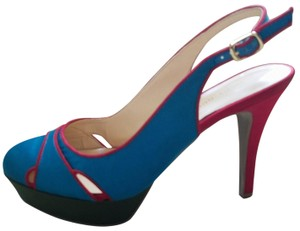 Audrey Brooke Satin Slingback Red Blue Platforms