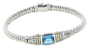 Lagos Signature Caviar Blue Topaz Rope Bracelet 10x7mm 18K Sterling Silver