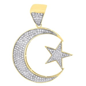 Jewelry For Less Diamond Crescent Moon & Star Pendant 10K Yellow Gold Charm 0.77 Tcw.